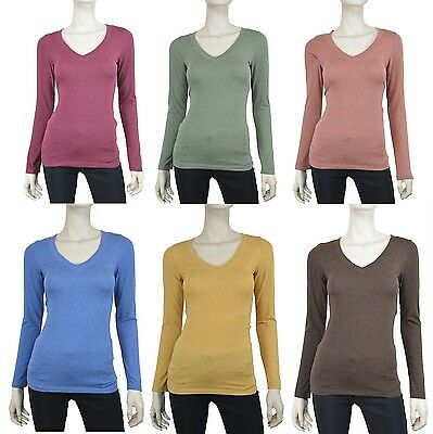 Long Sleeve Womens V Neck Basic Heather Color Long Sleeve Top T-Shirt - S M L