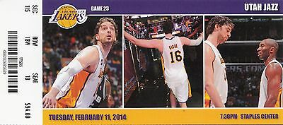 2014 LOS ANGELES LAKERS VS UTAH JAZZ TICKET STUB 2/11/14 PAU GASOL KOBE BRYANT