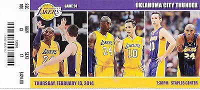 2014 LOS ANGELES LAKERS VS THUNDER TICKET STUB 2/13/14 STEVE NASH KOBE BRYANT