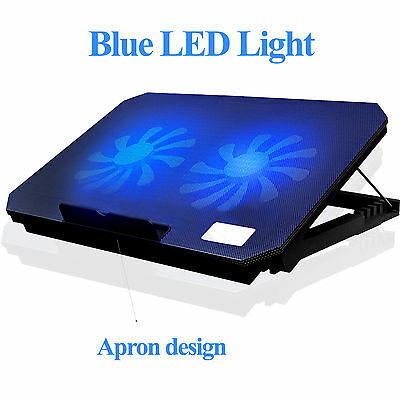 "2 Fans Laptop Cooler Stand For 15.4"" 15.6"" 17"" inch Cooling Pad W/ Blue Light"