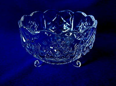 Collectible Vintage Leaded Crystal Blown Glass Footed Bowl - Cut & Etched Stars