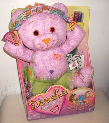 """2004 Doodle Bear 15"""" Plush Toy - Brand New in Box with Pens"""