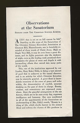 OBSERVATIONS AT THE SANATORIUM 1931  CHRISTIAN SCIENCE MARY BAKER EDDY  Offprint