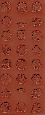 """NATURE STAMPS 24 Designs on One STAMPING MAT Rubber Sheet 8x3-1/4"""" PMC Art Clay"""