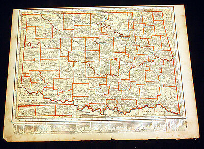 Antique Map Oklahoma or Arkansas 1922