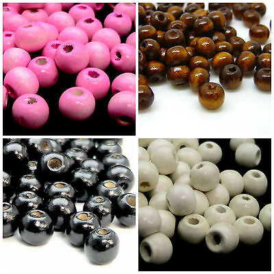 9mm Round / Rondelle Wooden Beads Jewellery Craft Hobbies Kids * PICK COLOUR