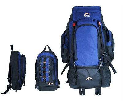 Camping Rucksack Backpack Hiking Detachable Day Back Pack Bag Blue Travel 50L