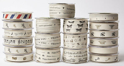 """May Arts 3/4"""" Wide Printed Ribbon Ivory Cotton Canvas Sold By The Yard"""