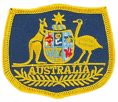 FLAG PATCH PATCHES AUSTRALIA AUSTRALIAN coat of arms IRON ON EMBROIDERED EMBLEM