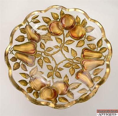 """Northwood Goofus Glass """"Apples and Pears"""" Intaglio Red Gold Fruit Bowl Antique"""