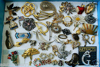 Mix Lot of 46 Holiday Season Occasion Wreath Cat Frog Crystal Metal Pin Brooch