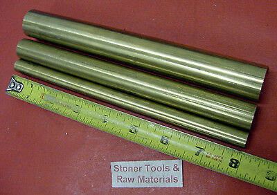 "3 Pieces 1"", 3/4"" & 9/16"" C360 BRASS SOLID ROUND ROD 8"" long New Lathe Bar Stock"