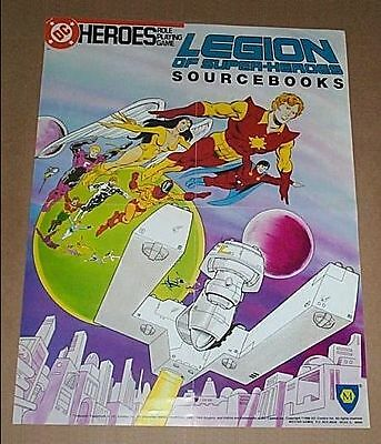 1980's DC Comics Legion of Super-Heroes Mayfair roleplaying game RPG Poster:1986