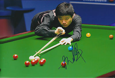 Ding JUNHUI 丁俊晖 AUTOGRAPH Signed Photo AFTAL COA SNOOKER German Masters Winner