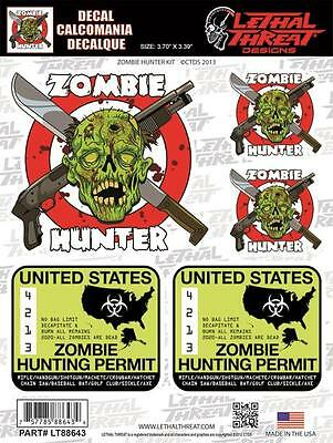 LETHAL THREAT Motorcycle Bike Board Car PC Decal Sticker ZOMBIE HUNTER LT88643