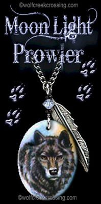 "Moon Light Prowler Wolf Necklace - Western Wildlife Art Wolves 24"" Chain - Gift*"