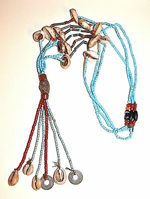 Fulani Handmade Tribal Necklace W Metal Coins Glass Beads & Cowrie Shells Africa