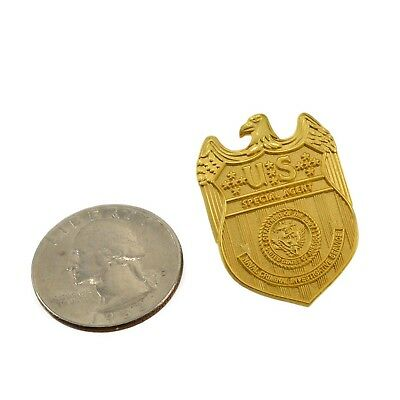 NCIS Special Agent Police Mini Badge Courtesy Lapel Pin Clip Gold