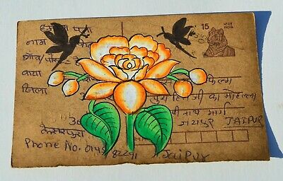 A Lovely Old Rajasthan Miniature Painted Indian Postcard Of Blue Flowers No 30