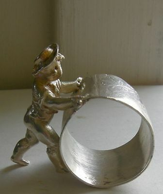 Antique Victorian Figural Napkin Ring Kate Greenaway Boy Meriden
