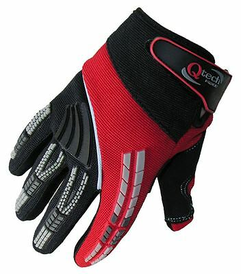 Motocross GLOVES by Qtech Trials Enduro off Road HONDA RED MX ADULT all Sizes