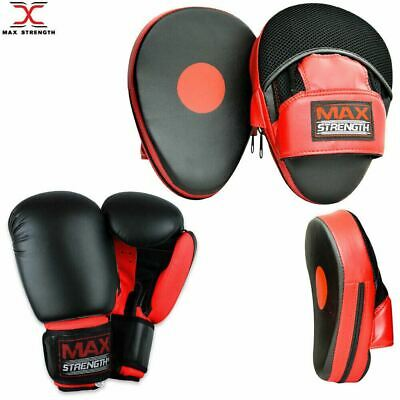 MAXSTRENGTH Boxing Focus Pads Hook and Jab Pro Fight Training Punch Gloves MMA
