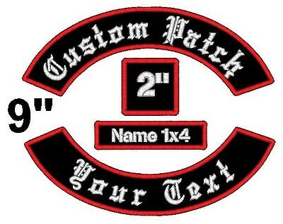4 Piece Custom Embroidered Patch Set Rockers Name Square Motorcycle Biker Tags