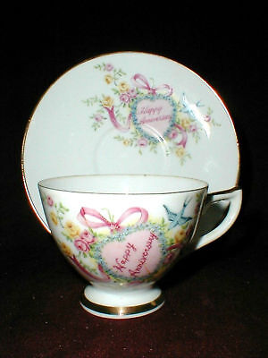 LEFTON China  Happy Anniversary #3184 Cup Saucer