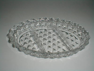 "Fostoria AMERICAN 3 Part Divided 9-1/2"" Oval Relish Dish"