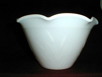 Hazel Atlas Milk Glass CATTAIL Ice Bucket/Bowl w Ruffled Rim
