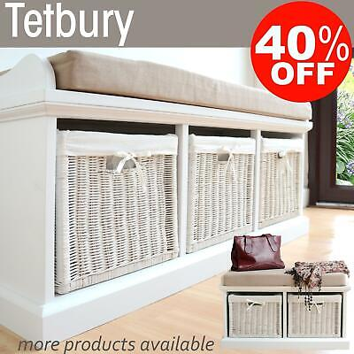 TETBURY White Bench with storage baskets.Hallway hanging shelf, white coat rack