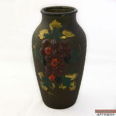 "Grape Vine Crackle Goofus Glass Vase Intaglio Red Purple Antique Rare 9"" 20s NR"
