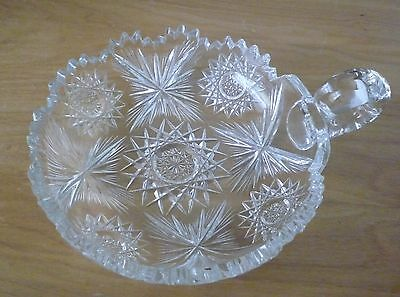 LOVELY VINTAGE CUT GLASS CRYSTAL LOW BOWL / NAPPY W/ HANDLE-STARS/SUNBEAM