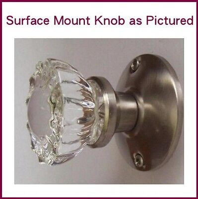 Crystal Antique Brushed Nickel (Pewter) Surface Mount Single French Door Knob