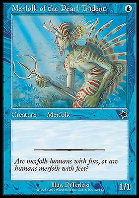 Merfolk of the Pearl Trident X4 EX/NM Starter 1999 MTG Magic Cards Blue Common
