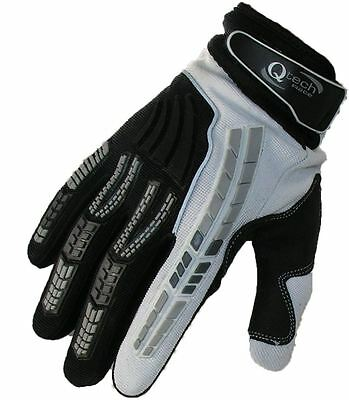 Motocross GLOVES by Qtech Trials Enduro WHITE & Black MX motorcross ADULT