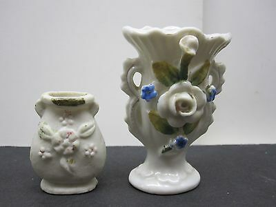 Glazed Porcelain And Bisque Small Hand Painted Japanese Vases Lot Of (2)