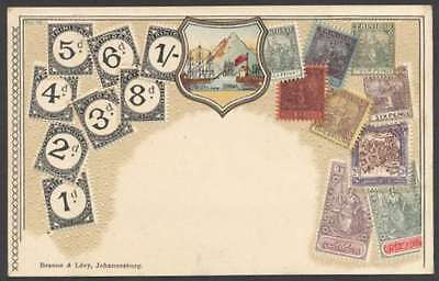Trinidad Stamps On Postcard Embossed w Shield 1900