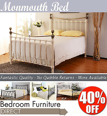 MONMOUTH metal bed 4FT6, ivory or black double bed frame, QUALITY metal bed base