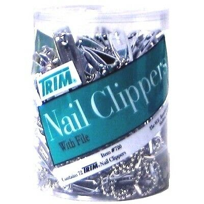 2 Lot of 72 TRIM Nail Clippers drum Jar with File and Chain. Total 144 Pcs