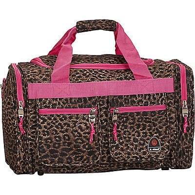 """Rockland Luggage Freestyle 19"""" Tote Bag - Pink Leopard Travel Duffel NEW"""