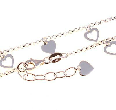 Sterling Silver Ankle Chain With  Heart Charms - Anklet - 9 inch to 10 inch