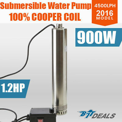 "1.2HP 4""  Submersible Water Pump Stainless Steel Deep Well Bore 900W 4500LPH"