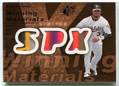 2007 SPx Winning Materials Patches Bronze NS Nick Swisher Patch 32/50