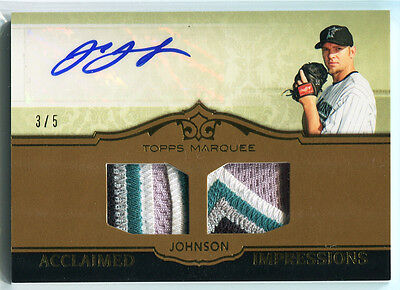 2011 Topps Marquee Acclaimed Impressions Gold Josh Johnson Dual Patch Auto 3/5