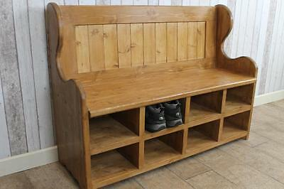 Handmade To Order 7Ft Pine Pew Settle With Shoe Storage Compartments Rustic