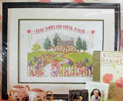 "VINTAGE BUCILLA RIBBON EMBROIDERY ""LOVE MAKES OUR HOME"" KIT (#4046)"