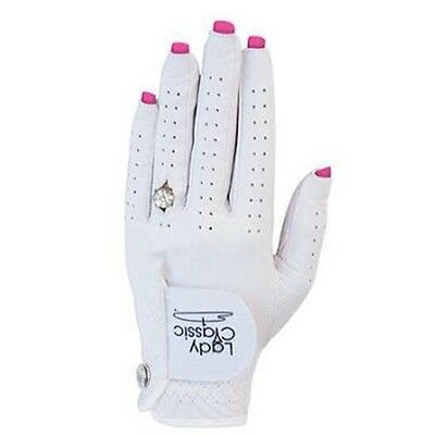 Ladies Nail Ring Golf Glove Small Left Hand White Cabretta Sheepskin Leather