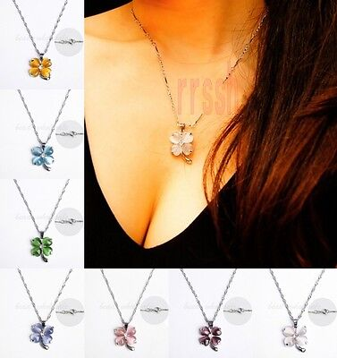 1pcs Cat's eye Opal Clear Crystal Silver Plated Four-leaf Clover 18KGP Necklace