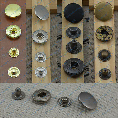 Black Silver Brass 10/12.5/15/17mm Snap Fasteners Press Studs Sewing Buttons